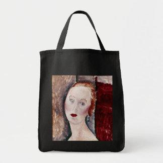 Modern konstkvinna tote bags