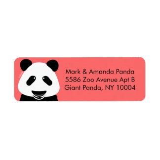 Modern korall för Pandabjörn Returadress Etikett