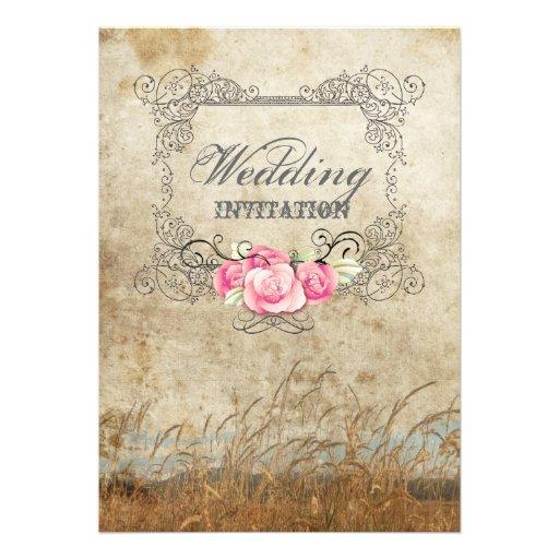 Modern lantlig landsbyggsbröllopinbjudan personliga inbjudan