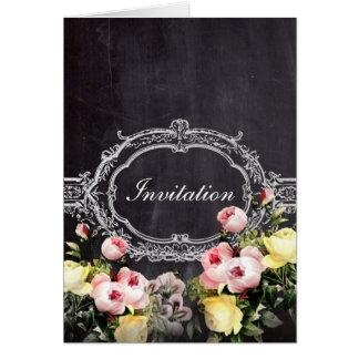 modern lantlig vintage blommar svart tavlabröllop hälsningskort