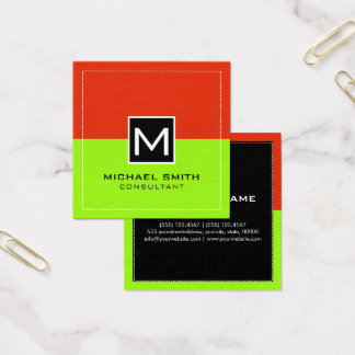 Modern limefrukt röd #2 för yrkesmässig Monogram Fyrkantigt Visitkort