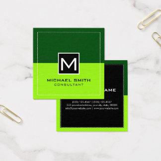 Modern limefruktgrönt för yrkesmässig Monogram Fyrkantigt Visitkort