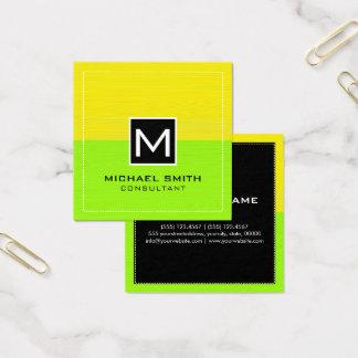 Modern limefruktgult för yrkesmässig Monogram Fyrkantigt Visitkort