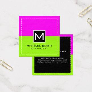 Modern limefruktmagenta för yrkesmässig Monogram Fyrkantigt Visitkort