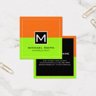 Modern limefruktorange för yrkesmässig Monogram Fyrkantigt Visitkort