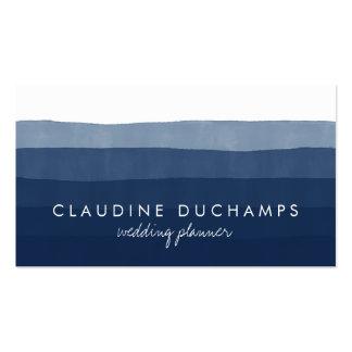 Modern marinblå elegant görad randig set av standard visitkort