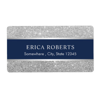 Modern marinblå & för silverglitterskönhet salong fraktsedel