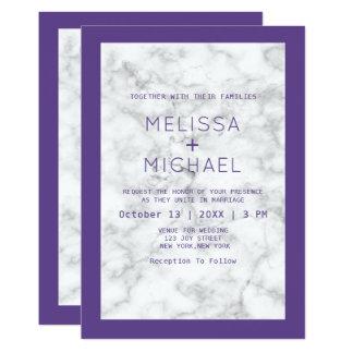 Modern marmor och lilabröllop 12,7 x 17,8 cm inbjudningskort