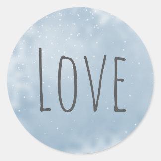 Modern Minimalist kärlek för vitgråttsilver Runt Klistermärke