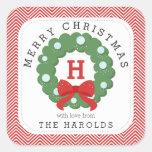Modern Monogrammed sparregod julkran Fyrkantigt Klistermärke