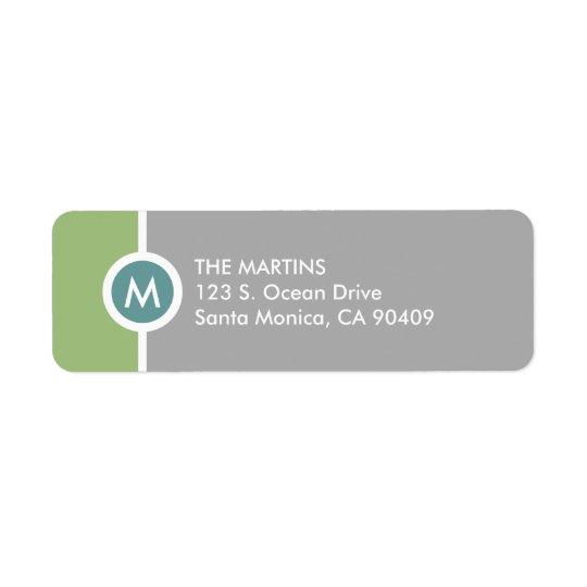 Modern Monogramreturadressetikett - grönt/grått Returadress Etikett