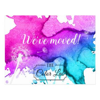 Modern ny adress vattenfärgsalong för vi har vykort