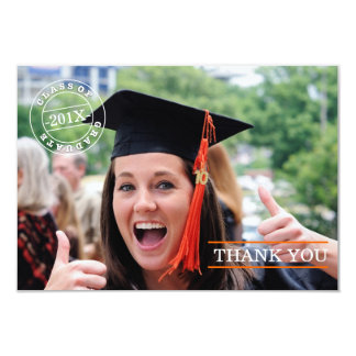 Modern orange för tack | för frimärkefotostudenten anpassningsbara tillkännagivanden