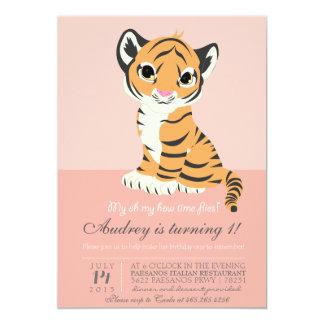 Modern orange tigerrosainbjudan 12,7 x 17,8 cm inbjudningskort