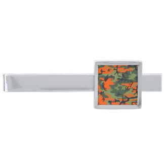 Modern orangegrönt för silver som jagar Camo Slipsnål Med Silverfinish