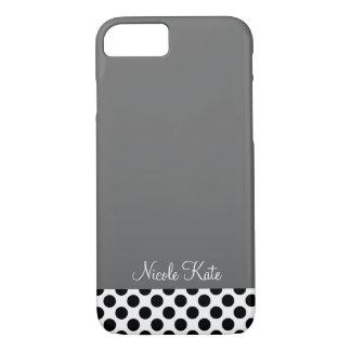 Modern polka dotsMonogram för grå färg