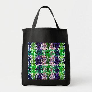 Modern psychedelic lilagrönt virvlar runt mat tygkasse