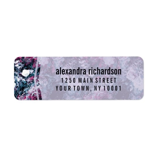 Modern purpurfärgad blommigt returadress etikett