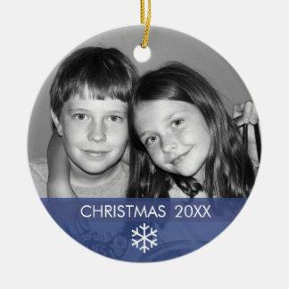Modern ram för julSnowflakefoto - Julgransprydnad Keramik
