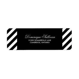 Modern returadressetikett för svartvit rand returadress etikett