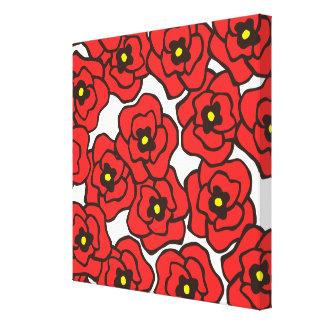 Modern röd konst för vägg för kanfas för blom- try canvastryck