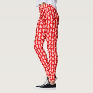Modern röd och vitjulgran leggings