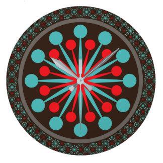 Modern röd turkos Starburst för mitt- århundrade Stor Klocka