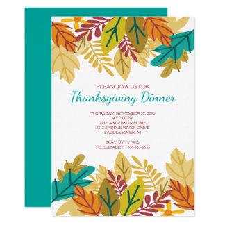 Modern rolig höst löv thanksgivingmiddag 12,7 x 17,8 cm inbjudningskort
