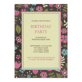 Modern rosa- & blåttblommigtfödelsedagsfest 12,7 x 17,8 cm inbjudningskort