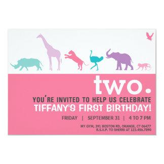 Modern rosa djur Silhouettefödelsedaginbjudan 12,7 X 17,8 Cm Inbjudningskort