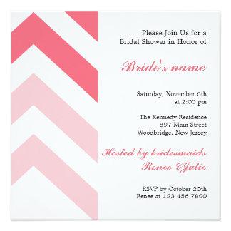 Modern rosa- och vitsparremöhippa fyrkantigt 13,3 cm inbjudningskort