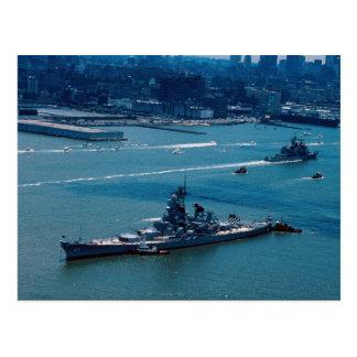 "Modern slagskepp, ""USS Wisconsin"", New York, U.S. Vykort"