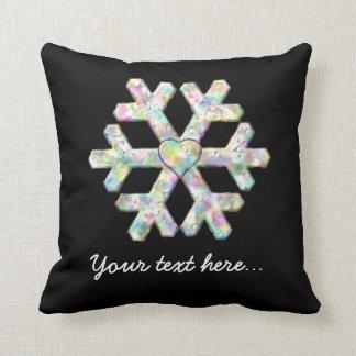 Modern snowflake- och kärlekhjärta kudde