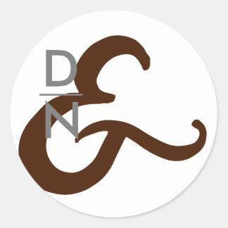 Modern & stads- rödbrun et-tecken för Minimalist | Runt Klistermärke