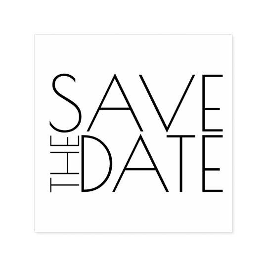 Modern stilfull bröllop spara datum självfärgande stämpel
