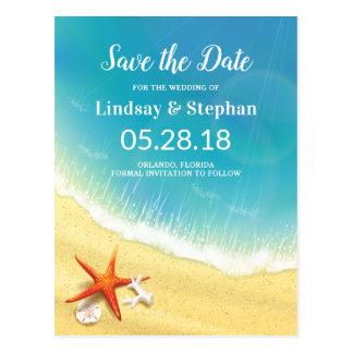 Modern strandbröllop spara datum vykort