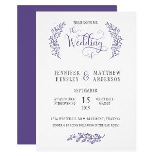 Modern Stylistic ultraviolett bröllopinbjudan 12,7 X 17,8 Cm Inbjudningskort