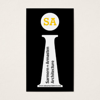 Modern svart för arkitekt, vit, gul monogram visitkort