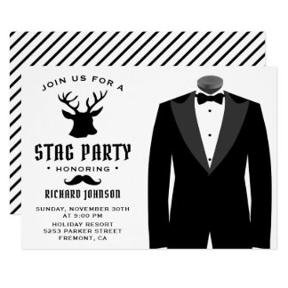 Modern svart inbjudan för party för
