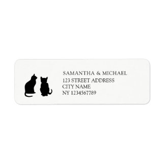 Modern svarta kattersilhouettesreturadress returadress etikett