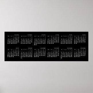 Modern svartvit kalender 2015 poster