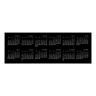 Modern svartvit kalender för ~ 2015 poster