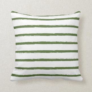 Modern texturerad grönt för skog för randlinjer kudde