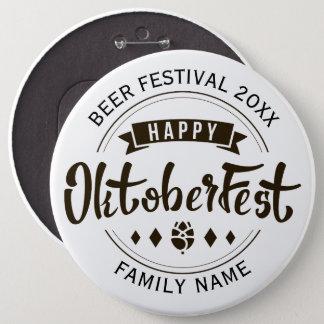 Modern typografimall 4 för lycklig oktoberfest jumbo knapp rund 15.2 cm