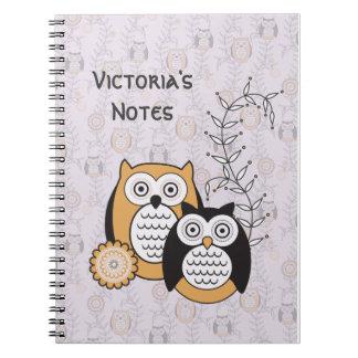 Modern ugglapersonliganteckningsbok anteckningsbok