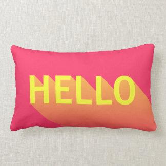 Modern vibrerande rosa och gul hejtypografi lumbarkudde