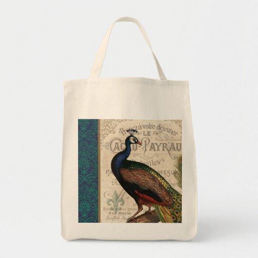 modern vintagefranskpåfågel tote bags