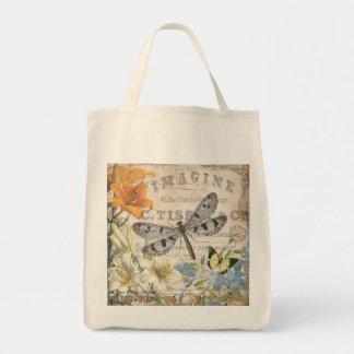 modern vintagefranskslända tote bags