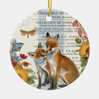 Modern vintageskogsmarkräv julgransprydnad keramik
