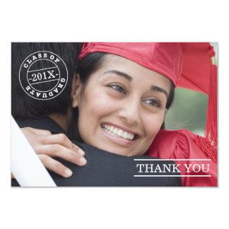 Modern vit för tack | för frimärkefotostudenten 8,9 x 12,7 cm inbjudningskort